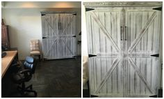 Our customer from Carlsbad, California chose the Bedder Way Vertical Queen Barn Face Murphy bed in oak painted weathered white with black modern pulls.