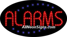 """Animated Alarms LED Sign-ANSAR24137  15""""x27""""x1""""  Animated  8lbs  Indoor use only  Low energy cost: Uses ONLY 10 Watts of power  Expected to last at least 100,000 hrs  Cool and safe to touch, low voltage operation  High visibility, even in daylight  Easy to clean, Easy to install, Slim & Light Weight  Maintenance FREE  1 YEAR Warranty."""