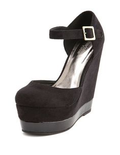 Sueded Stacked Patent Platform Wedge: Charlotte Russe