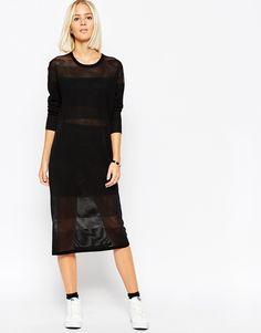 Midi Dress in Fine Self Stripe by ASOS White