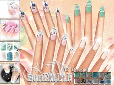 A unique and chic set of 12 high quality nails.Found in TSR Category 'Sims 4 Female Rings' Sims 4 Nails, Cc Nails, Sims 4 Cc Kids Clothing, Sims 4 Children, Sims 4 Clutter, Sims Four, Sims 4 Cc Makeup, Play Sims, Bohemian Flowers