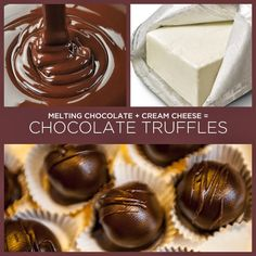Melting Chocolate + Cream Cheese = Chocolate Truffles and 23 other 2 ingredient recipes Candy Recipes, Sweet Recipes, Dessert Recipes, Just Desserts, Delicious Desserts, Yummy Food, Chocolate Cream Cheese, Melting Chocolate, Yummy Treats