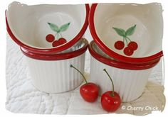 #Crate&Barrel Cherry Soufflé dishes given to me from my friend Jeanne. Too cute... #Cherries #CherryChick