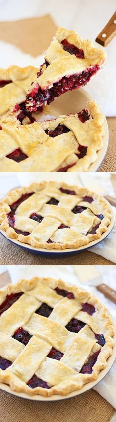 Triple Berry Pie - flaky and crumbly pie with sweet and delicious triple berry filling. This recipe is easy, fail proof and amazing!   rasamalaysia.com