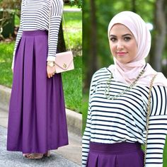 stripe top with maxi skirt, Classy hijab outfits http://www.justtrendygirls.com/classy-hijab-outfits/