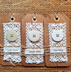 Handmade tags Set of tags Scrapbook embellishment kit Card Tags, Gift Tags, Handmade Tags, Paper Tags, Scrapbook Embellishments, Vintage Tags, Fabric Tags, Tag Art, Junk Journal
