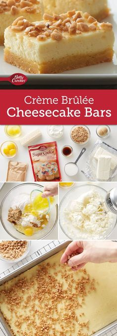 Cheesecake Bars Savor the same great taste of restaurant Crème Brûlée in an easy-to-make bar cookie.Savor the same great taste of restaurant Crème Brûlée in an easy-to-make bar cookie. Creme Brulee Cheesecake Bars, Cheesecake Recipes, Cookie Recipes, Dessert Recipes, Bar Recipes, Picnic Recipes, Picnic Ideas, Picnic Foods, Dessert Ideas