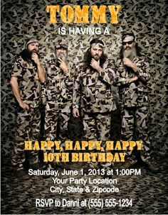 Duck Dynasty Hunting Camoflauge Birthday Party Invitation by DannisCuteCreations, $1.00