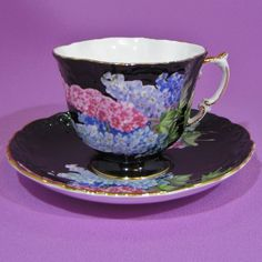 AYNSLEY QUATREFOIL PINK AND BLUE DELPHINIUM  BLACK TEA CUP AND SAUCER