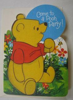 Two 70's Vintage Hallmark Winnie The Pooh Invitation Greeting Cards w/Envelopes