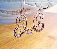 Wire Wrapped Heart Copper Earrings with Azure by GearsFactory, €17.00