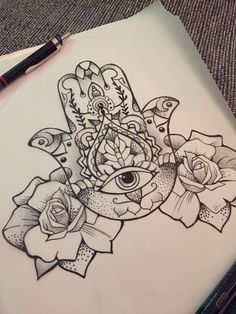 Dotwork Hamsa With Roses Tattoo Design