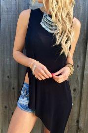 Black O-Neck Sleeveless Solid Long Tees & T-shirts