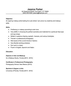 Makeup Artist Resume Examples  Sample Resumes  Sample Resumes