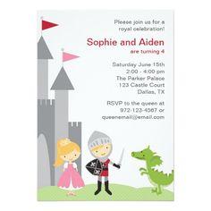 Princess and Knight Birthday Invitations