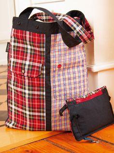Shopper oder Einkaufstasche ganz einfach aus ausgedienten Herrenhemden selber nähen - Nähanleitung via Makerist.de
