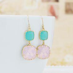 Rose Water Opal Swarovski Crystal with Mint Opal Glass Dangle Earrings - Earrings Nation