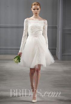 "Brides.com: Monique Lhuillier - Spring 2014. ""Jolie"" ivory guipure lace long sleeve off-the-shoulder dress with ivory tulle detachable overskirt, Monique Lhuillier"