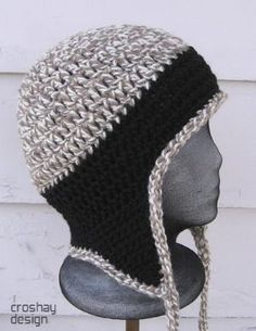 free crochet hat pattern with ear flaps for men   CROCHETED HAT WITH EAR FLAP PATTERNS   FREE PATTERNS by Saddiejean