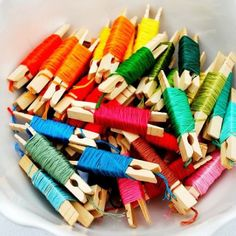 Nothing like a bowl of embroidery floss to get us in the mood for making friendship bracelets! Love the rainbow of colors! #color #fun #DIY ...
