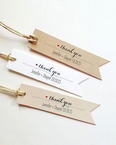 25 étiquettes sur mesure Merci Tags mariage faveurs Tags personnalisés Bridal Shower faveur mariage cadeau Tags personnalisé faveur Etiquettes