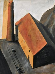 Mario Sironi (Italian, 1885-1961): Suburb with Smokestack (Periferia con ciminiera), 1924. Ink, pencil and gouache on paper laid on canvas; 33.5 x 25 cm.