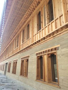A new rammed-earth building in Bhutan.