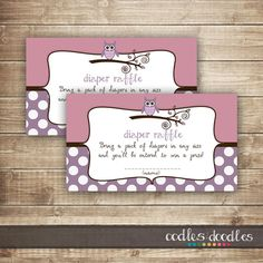 Diaper Raffle Ticket  / Pink & Purple Owl Baby Shower / by OandD