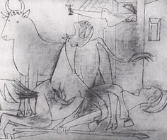 Pablo Picasso, study for the massive work of protest, Guernica Picasso Guernica, Pablo Picasso Drawings, Picasso Sketches, Kunst Picasso, Art Picasso, Picasso Paintings, Henri Rousseau, Henri Matisse, Georges Braque
