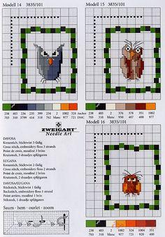 "Photo from album ""Zweigart Stickideen: Eulen - on Yandex. Cross Stitch Owl, Cross Stitch Geometric, Cross Stitch Boards, Small Cross Stitch, Cross Stitch Animals, Cross Stitch Designs, Cross Stitching, Cross Stitch Embroidery, Cross Stitch Patterns"