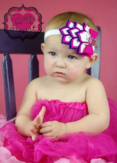 Hot Pink and Purple Felt headband Layered by PACraftsfromtheHeart