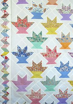 Cactus Basket Quilt Top. Martha Dellasega Gray, 2005. Machine pieced. 75″ x 75″ (without border)