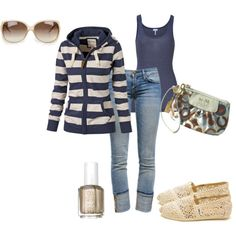 """soccer mom - use red or black instead of navy.  """"fun fall fashion"""" by melissaerin on Polyvore"""