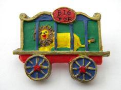 Antique vintage wood picture button LARGE lion cirus train hand painted old