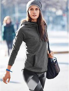 Sentry Hoodie Sweatshirt and Sonar Magnetic Tight | Athleta...French terry beanie.  Love it!