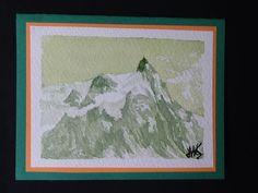 Signed original watercolour painting by H. JOSÉ, Chamonix Aiguille du Midi