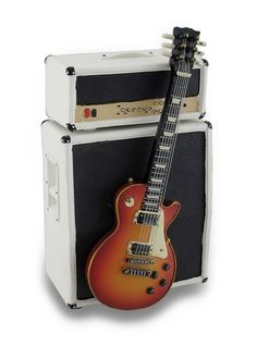 Stylized Vintage Electric Guitar and Amp Coin Bank Piggy Bank w/Stand