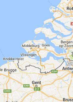 Rondreis Zeeland vanaf Hulst naar Yerseke, Zierikzee, Veere en Middelburg Bergen, Motorhome, Holland, Dreams, Map, Netherlands, The Nederlands, Rv, Location Map