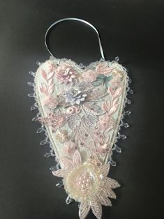 Gift for Her Wall Hanging Mother/'s Day Gift Altered Paper Mache Heart Memorial to a Departed Loved One Door Hanger