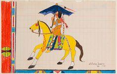 "Marcelle Sharron Ahtone Harjo (born 6 Jan 1945) is a Kiowa painter from Oklahoma. Her Kiowa name, Sain-Tah-Oodie translated to ""Killed With a Blunted Arrow."""