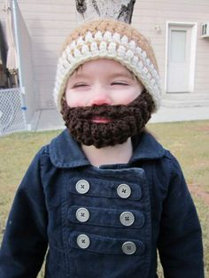 Bearded Beanie for Baby!  You MUST  make these for the kids ASAP!!! That is the funnies thing I have ever seen! @Candy Tatman-Brown Leopold