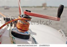 Red And Black Winch Handle Inserted Into Large Winch With Red And Yellow Line Wrapped Stock Photo 104880515 : Shutterstock