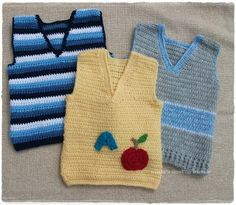".: Kids Sleeveless Tops- Materials: Dk wool  100gram, F/3.75 mm hook,    G/H/4.50mm hook                                 Tension: 18sts + 12 rows = 4"" over pattern.  To fit 18 months/2 years These are so cute."