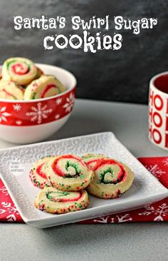 Santa's Swirl Sugar Cookies are a fun and festive treat for the holiday season! GET THE RECIPE Santa's Swirl Sugar Cookies submitted by Renee's Kitchen Adventures Easy Holiday Cookies, Christmas Desserts Easy, Best Christmas Cookies, Holiday Cookie Recipes, Xmas Cookies, Christmas Sweets, Christmas Cooking, Holiday Baking, Christmas Ideas