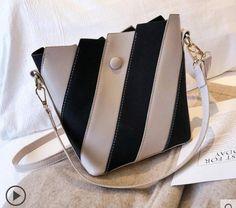 e450bab0eeb4 Luxury Handbags Women Bags Designer 2019 New Striped Portable Bucket Vogue  Charm PU Leather Shoulder Crossbody Bag