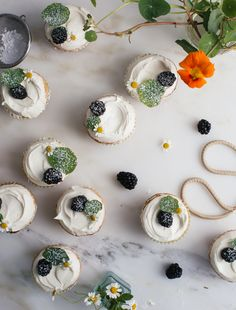 Honey Cupcakes with Chamomile Frosting /