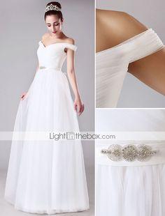 Linha A Vestido de Noiva - Chique e Moderno Longo Ombro a Ombro Tule com Cruzado / Faixa / Fita de 4116840 2017 por R$236,57