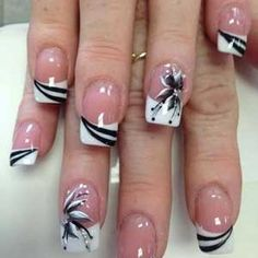 French Tip Nail Designs, Classy Nail Designs, French Nail Art, French Tip Nails, Acrylic Nail Designs, Nail Art Designs, French Tips, Acrylic Gel, French Manicures