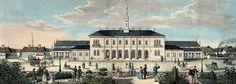 Freiburger Bahnhof um 1845    Schöne kolorierte Lithografie des Freiburger Bahnhof um das Jahr 1845.