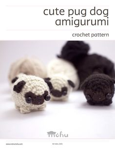 A downloadable amigurumi pattern to make your own little pug dog.The pdf file includes a written crochet pattern, detailed assembly instructions, and a printable template for the face.<b>Difficulty:</b> intermediateYou should already know how to crochet in the round, and make basic crochet stitches. The face and ear details can be a little tricky.<b>Size:</b> smallUsing medium weight (worsted weight) yarn and a 3.5 mm (E) crochet hook, your am...
